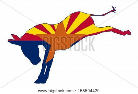 The Arizona Democrat party donkey flag over a white background