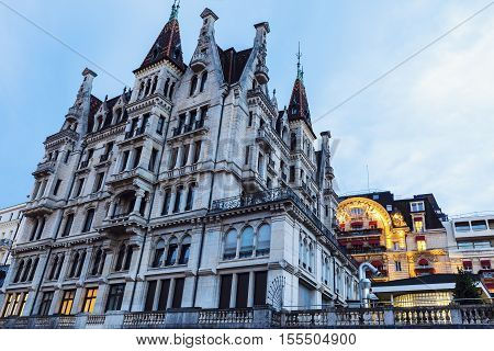 Old architecture of Lausanne. Lausanne Vaud Switzerland.