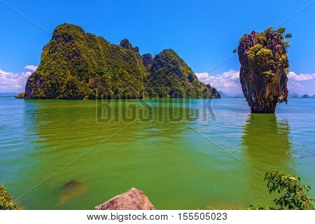 Bay in the Andaman Sea. James Bond Island in the shape of a vase. Wonderful holiday in Thailand