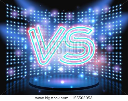 Versus neon logo live stage on background with lightbulb glowing wall. Vector abstract background
