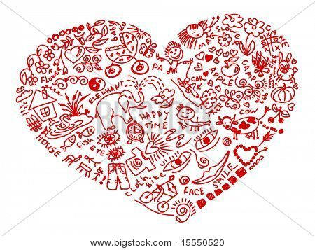 Hand drawn doodles in heart shape