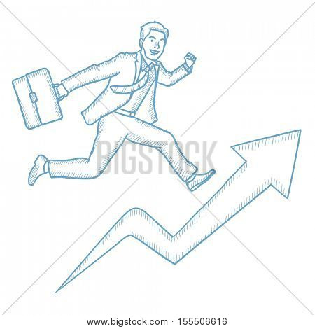 Businessman running on growth graph. Caucasian businessman running along the growth graph. Concept of career growth and business success. Hand drawn vector sketch illustration on white background.