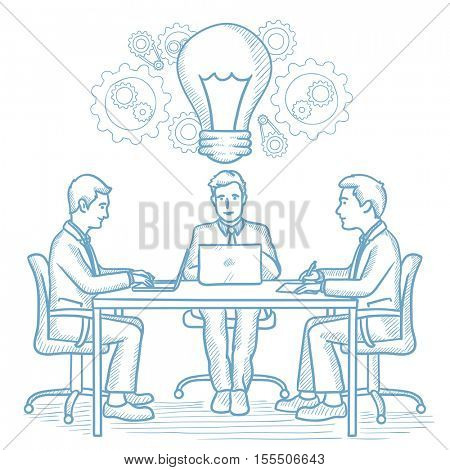 Business people sitting at the table with idea light bulb. Businessmen working on a new business idea. Concept of successful business idea. Hand drawn vector sketch illustration on white background.