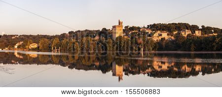 Architecture of Avignon along Rhone River. Avignon Provence-Alpes-Cote d'Azur France.