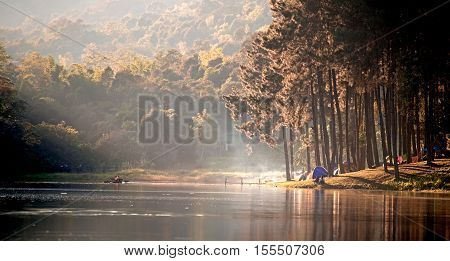 Morning in Pang Ung LakeNorth of Thailand is a tourist place where people come to vacation in the winter