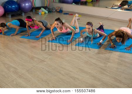 Group of women exercising in gym