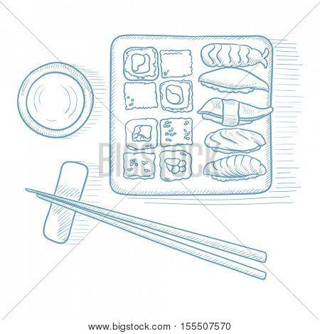 Various kinds of sushi served on a plate. Sushi served on a plate hand drawn on white background. Sushi vector illustration. Sushi sketch illustration.