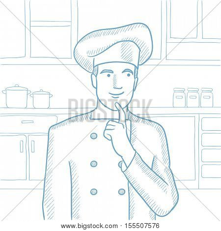 Caucasian chief-cooker in uniform standing in the kitchen and pointing forefinger up. Chef thinking about the recipe. Chef having an idea. Hand drawn vector sketch illustration on white background.