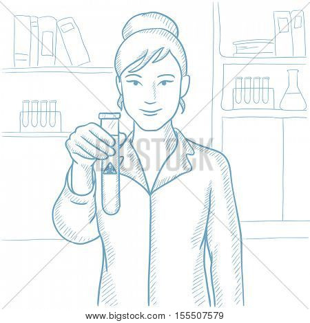 Female scientist holding a test tube with biohazard sign. Scientist examining a test tube with biohazard sign in a chemical laboratory. Hand drawn vector sketch illustration on white background.