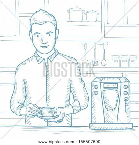 Caucasian man making coffee with a coffee-machine. Man with hot cup of coffee in hands. Man standing in the kitchen beside a coffee machine. Hand drawn vector sketch illustration on white background.