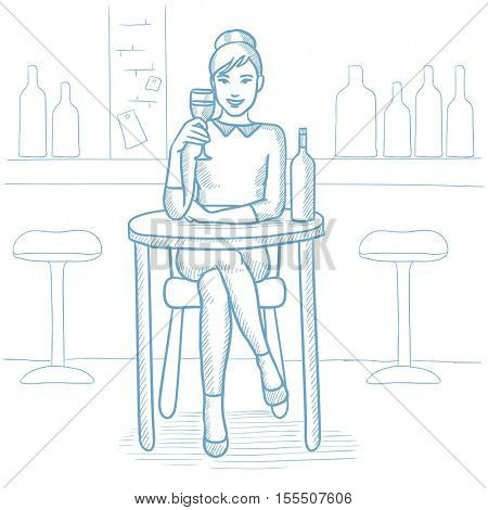 Caucasian woman sitting at the table with glass and bottle of wine at bar. Woman drinking wine at bar. Woman enjoying a drink at wine bar. Hand drawn vector sketch illustration on white background.