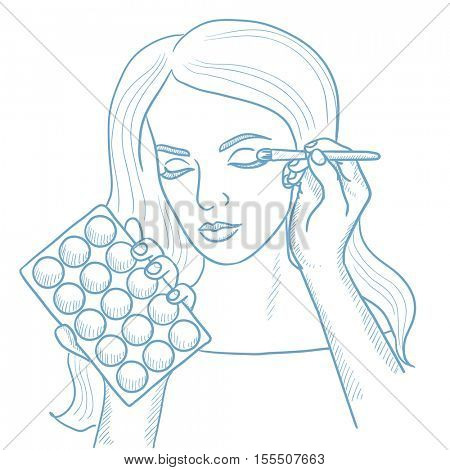 Artist applying makeup with a brush on woman face. Visagiste doing makeup to young girl. Visagiste doing makeup to a model using a brush. Hand drawn vector sketch illustration on white background.