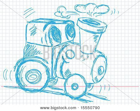Hand drawn train Vector. Visit my portfolio for big collection of doodles