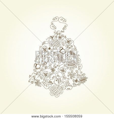 Vector Christmas bell on beige background - illustration