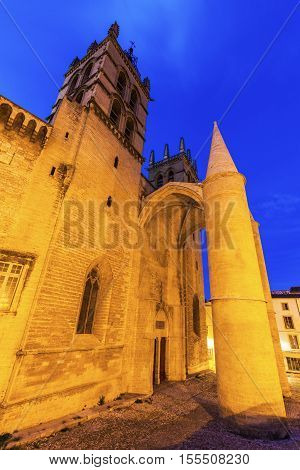 Montpellier Cathedral at night. Montpellier Occitanie France.