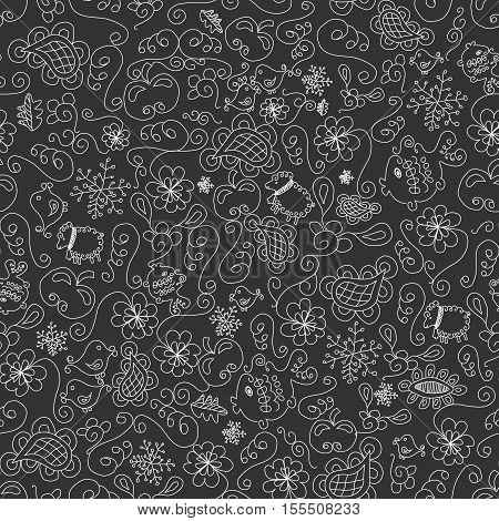 Vector dark grey Christmas seamless background - illustration