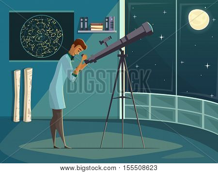 Astronomer scientist observing moon in night sky  through open window with telescope   retro cartoon poster vector illustration