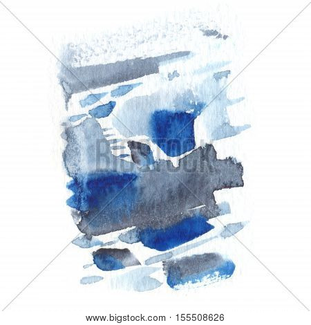 Abstract watercolor texture with painted stains and strokes. Delicate artistic background. Indigo and gray colors.