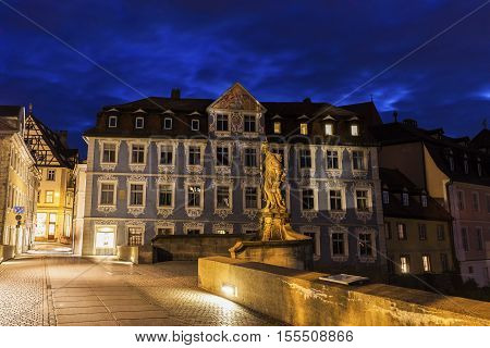 Old architecture and bridge of Old Town in Bamberg. Bamberg Bavaria Germany.