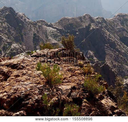 In Oman  The Old Mountain Gorge And Canyon The Deep Cloudy  Sky