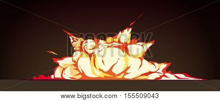 Cluster explosion at night retro cartoon poster with bright flame colored blasts against black background vector illustration