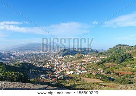 Mirador Mirador Jardina North-east of Tenerife Canary Islands Spain. Panoramic view of town La Laguna and volcano Teide.
