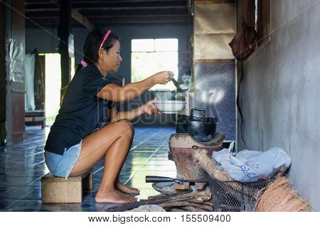 Traditional kitchen in a rice farmer's home in Isaan, Thailand