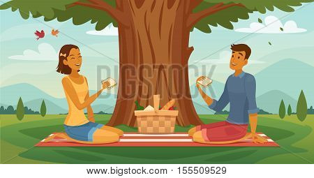 Sunny afternoon outdoor picnic together retro cartoon poster with young romantic couple lunching under tree vector illustration
