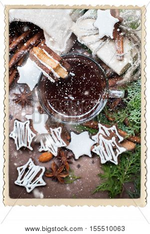Tiny Chocolate Christmas Cookies in Star Shape with Icing Sugar on Cup Vintage Retro Photo Frame Isolated on White Drawn Snow