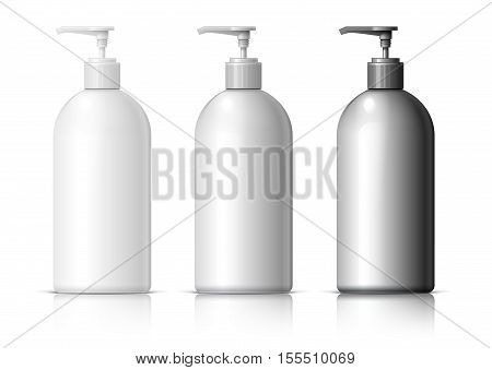 Big plastic bottle for cosmetics. In black gray and white. Packing for shampoo conditioner bath foam. vector illustration.