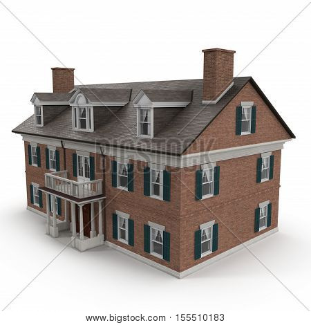 Large two story vintage Colonial style house on white background. 3D illustration