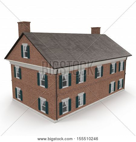 beautiful colonial home on white background. Rear view. 3D illustration