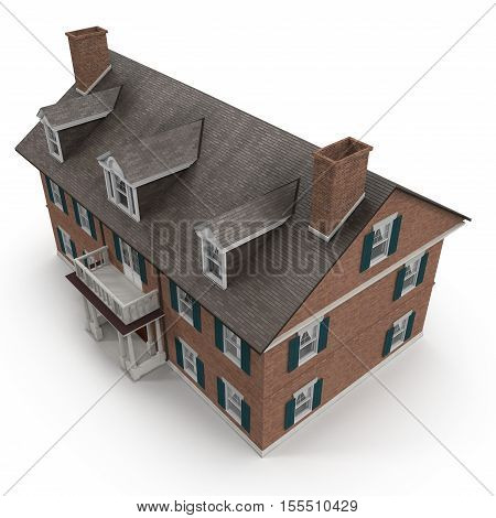 Red brick Colonial Architecture style on white background. Angle from up. 3D illustration