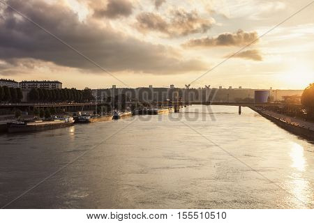 River Seine in Rouen. Rouen Normandy France