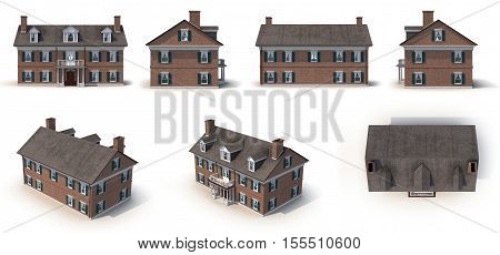 Red brick Colonial Architecture style renders set from different angles on a white background. 3D illustration