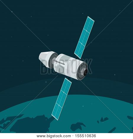 Space station flying on earth orbit vector illustration, flat spaceship station on space background, cosmic ship