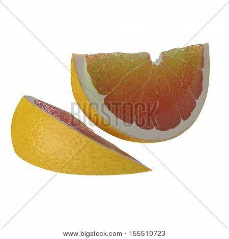 Two sliced grapefruit on white background. 3D illustration