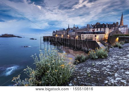 St-Malo panorama at evening. St-Malo Brittany France