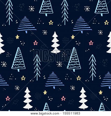 Winter forest pattern with hand drawn christmas tree. Blue night sky with stars and snowflakes. Vector background for wrapping paper and christmas designs