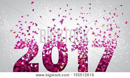 2017 New Year background with pink figures. Vector illustration.
