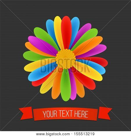 Rainbow flower. Peace tolerance Gay culture symbol. Vector illustration in LGBT flag colors. Modern background with ribbon. Creative colorful logo.