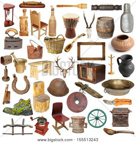 large collection of different vintage objects isolated over white background ready for your design