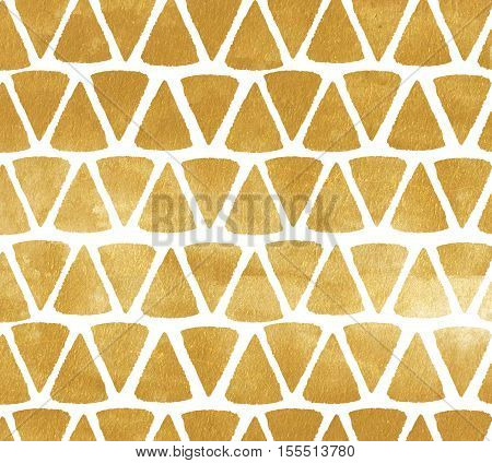 Gold triangle background. Metal painted background with triangular shapes