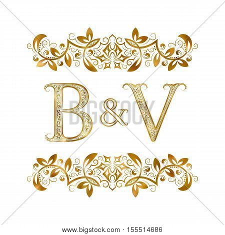 B&V vintage initials logo symbol. Letters B V ampersand surrounded floral ornament. Wedding or business partners initials monogram in royal style.