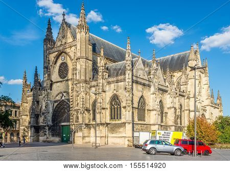 BORDEAUX,FRANCE - AUGUST 31,2016 - Basilica of Saint Michael in Bordeaux. Bordeaux is the worlds major wine industry capital.