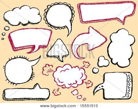 Hand Drawn Speech And Thought Bubble. Visit my portfolio for big collection of doodles