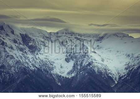 Winter In Carpathians Mountains, Romania. Majestic Winter Landscape At Sunset In Carpathians Mountai