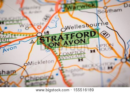 Stratford On Avon On A Road Map