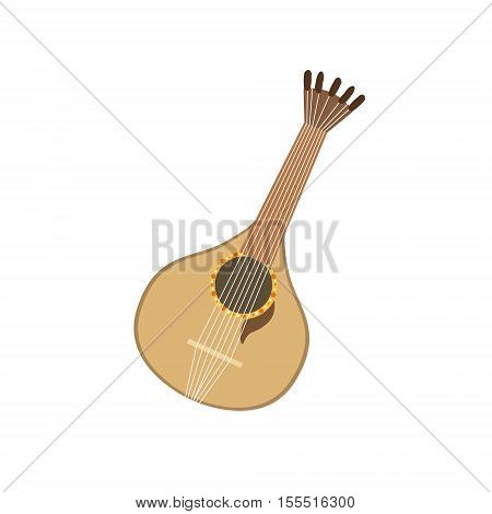 Acoustic Guitar Portuguese Famous Symbol . Touristic Well-known Emblems Of Portugal Simple Illustration Isolated On White Background.