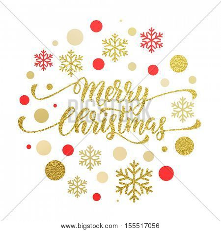 Merry Christmas gold glitter lettering design. Christmas greeting card, poster, banner. Vector golden glittering snow, snowflakes, black dots on white background